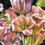 """Painting titled """"tulips in the garde…"""" by Alfred Ng, Original Art, Watercolor"""