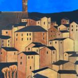 """Painting titled """"Nightime in Tuscany"""" by Andrew Goreds (The Outsider), Original Art, Acrylic"""