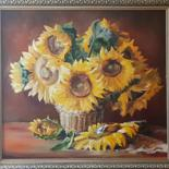 """Painting titled """"Sunflowers on your…"""" by Andriy Maslyanko, Original Art, Oil Mounted on Stretcher frame"""