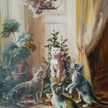 """Painting titled """"Fluffy against feat…"""" by Andriy Maslyanko, Original Art, Oil Mounted on Stretcher frame"""