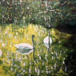"""Painting titled """"""""Swans cannot live…"""" by Alexey Aronov, Original Art, Oil"""