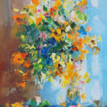 """Painting titled """"Bouquet of flowers.…"""" by Valeriy Ushkov, Original Art, Oil Mounted on Stretcher frame"""