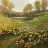 Landscape Painting, oil, impressionism, artwork by B.Rossitto