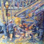 City Painting, oil, impressionism, artwork by B.Rossitto