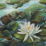 Flower Painting, oil, impressionism, artwork by B.Rossitto