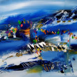 """Painting titled """"Le chemin bleu de T…"""" by Muriel Cayet, Original Art, Acrylic Mounted on Stretcher frame"""