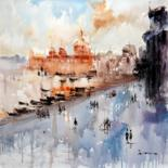 """Painting titled """"Street view #001"""" by Lermay Chiang, Original Art, Oil Mounted on Stretcher frame"""