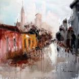 """Painting titled """"Street View #003"""" by Lermay Chiang, Original Art, Oil Mounted on Stretcher frame"""