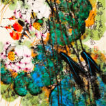 """Painting titled """"Fragrance of lotus…"""" by Dayou Lu, Original Art, Pigments"""