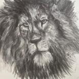 """Drawing titled """"Head of a Lion"""" by Digby Chacksfield, Original Art, Charcoal"""
