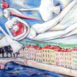 """Painting titled """"WOMAN FLYING WITH G…"""" by Elisaveta Sivas, Original Art, Oil Mounted on Stretcher frame"""