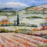 Landscape Painting, watercolor, impressionism, artwork by Ewa Rey