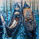 Boat Painting, oil, figurative, artwork by Mary Grinkevich