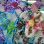 Hand Painted Color Burst Floral Design Silk Scarves