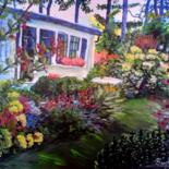 """Painting titled """"Farmhouse with gard…"""" by Happipaints, Original Art, Acrylic"""