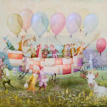 """Painting titled """"The Balloonists"""" by Remigijus Januskevicius, Original Art, Oil"""