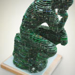 """Sculpture titled """"The Thinker2.0"""" by Joseph Palmor, Original Art, Other"""