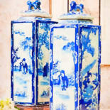"""Painting titled """"Chinoiserie jars wi…"""" by Kath Sapeha, Original Art, Watercolor"""