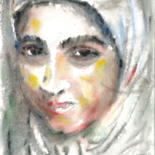 Portrait Drawing, watercolor, expressionism, artwork by Karakhan