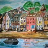 """Painting titled """"À L'OUEST BELLE ÎLE"""" by Lola Design59, Original Art, Watercolor Mounted on Wood Panel"""