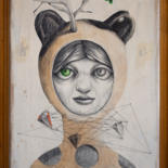 """Drawing titled """"Generation androgyn…"""" by Lucian Szekely-Rafan, Original Art, Pencil Mounted on Wood Panel"""