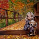 """Painting titled """"Girl and puppy"""" by Marina Ternavskaya, Original Art, Oil Mounted on Cardboard"""