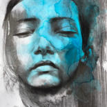 """Painting titled """"Endormie bleue"""" by Madeline Berger (MadB), Original Art, Graphite"""