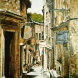 """Painting titled """"Rue des commerces"""" by Rodolphe Parisotto, Original Art, Oil"""