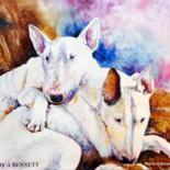 bull terrier paintings by Randy A Bennett Art