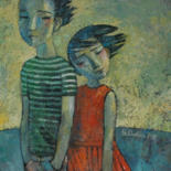 """Painting titled """"First love"""" by Yulduskhon, Original Art, Oil Mounted on Stretcher frame"""