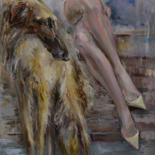 Dog Painting, oil, impressionism, artwork by Elena Reutova