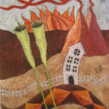 Countryside Painting, oil, abstract, artwork by Robert Winslow