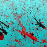 """Painting titled """"Fractured green"""" by Romain Rossi, Original Art, Acrylic Mounted on Stretcher frame"""