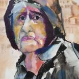 Women Painting, watercolor, expressionism, artwork by Rosemay