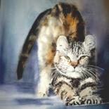 """Painting titled """"le-chat.jpg"""" by Sylvie Griselle, Original Art,"""