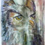 Painting, watercolor, expressionism, artwork by Sylvie Ollivier