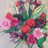 """Painting titled """"Les roses framboises"""" by Valérie Blum (Valery), Original Art, Acrylic Mounted on Stretcher frame"""