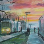 """Painting titled """"early train"""" by Vasyl, Original Art,"""