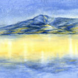 Mountainscape Painting, watercolor, impressionism, artwork by Adriana Mueller