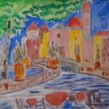 """Painting titled """"Prato della Valle (…"""" by Vittorio Magagna, Original Art, Watercolor Mounted on Wood Panel"""
