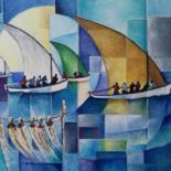 """Painting titled """"A Rodrigues"""" by Martine Woellet, Original Art, Oil"""