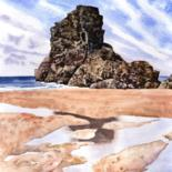 """Painting titled """"Beach Reflections"""" by Zoe Norman, Original Art, Watercolor"""