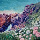 """Painting titled """"Cornish Cliffs"""" by Zoe Norman, Original Art, Oil Mounted on Stretcher frame"""